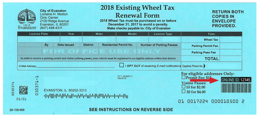 2018 Wheel tax form