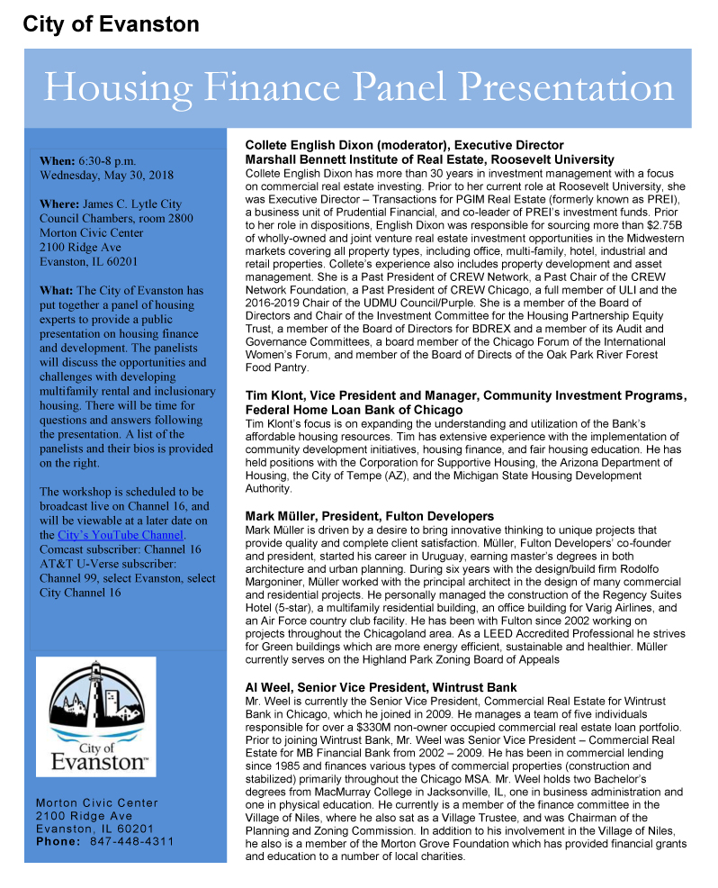 Housing Finance Panel Presentation Flyer May 24, 2018