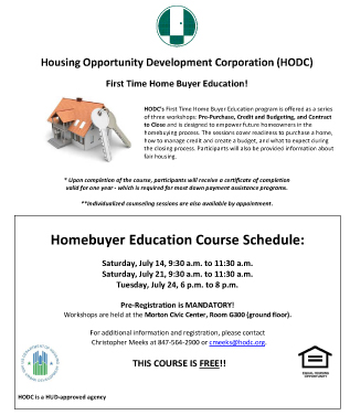 HODC Housing Counseling Flyer July 2018