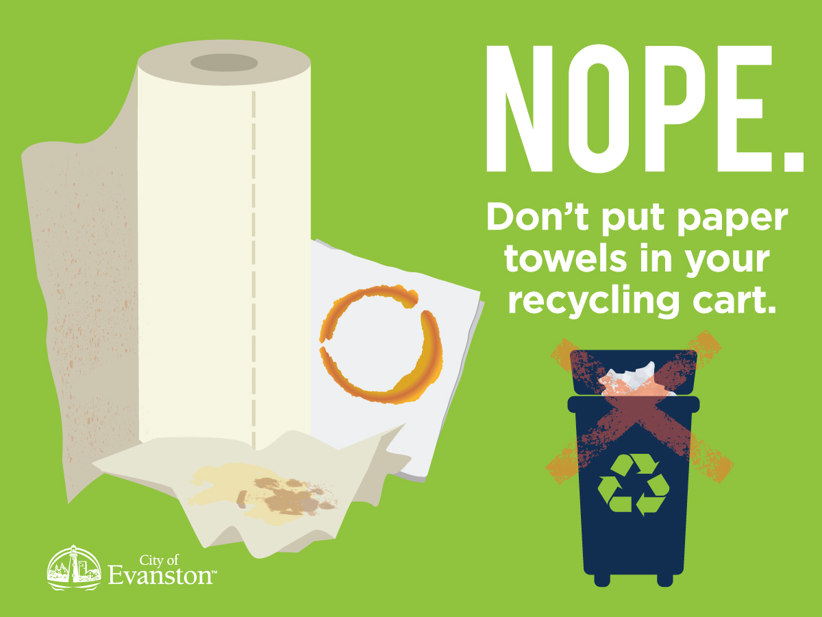 Don't put paper towels in your recycling cart.