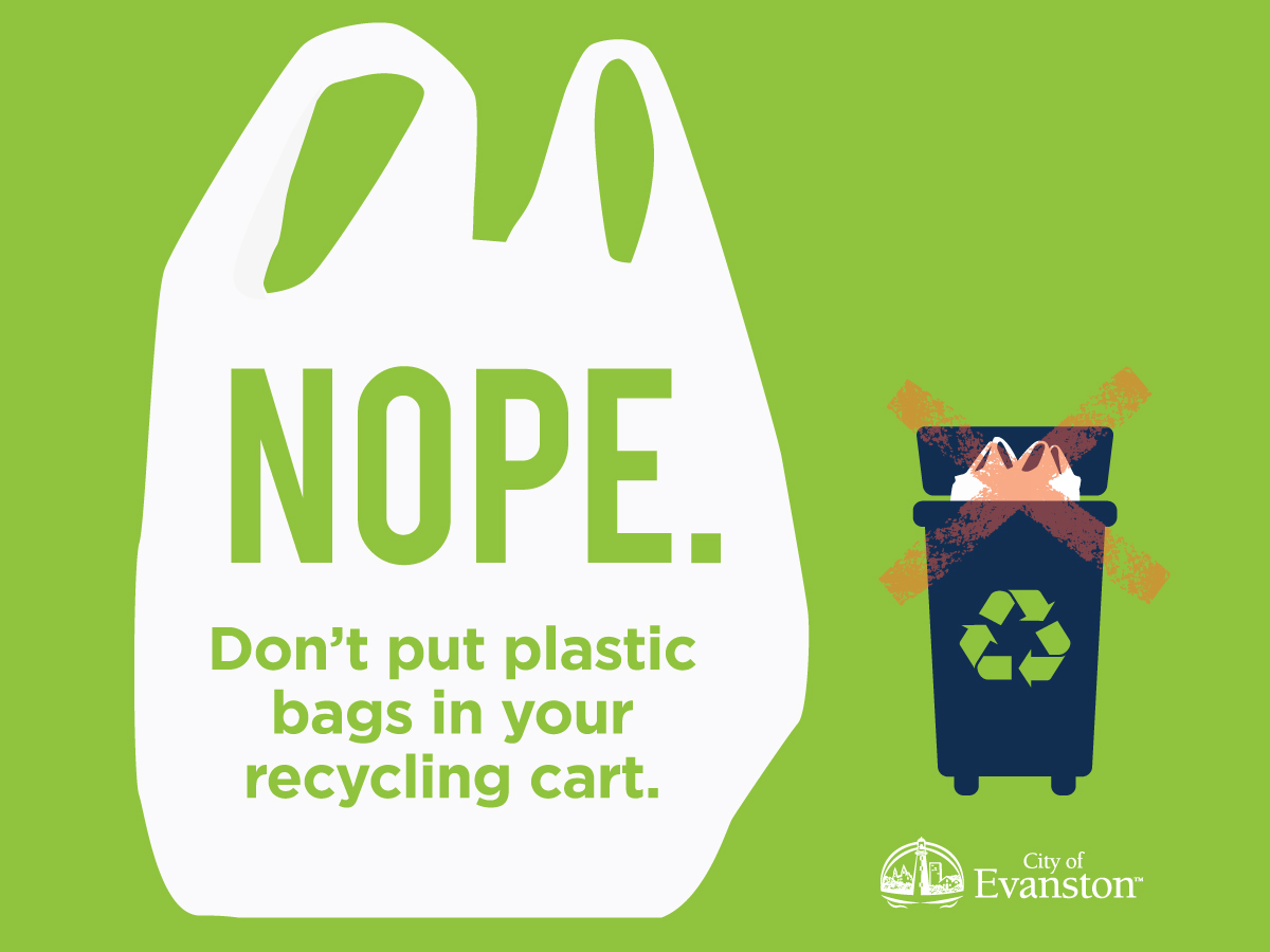 Don't put plastic bags in your recycling cart.