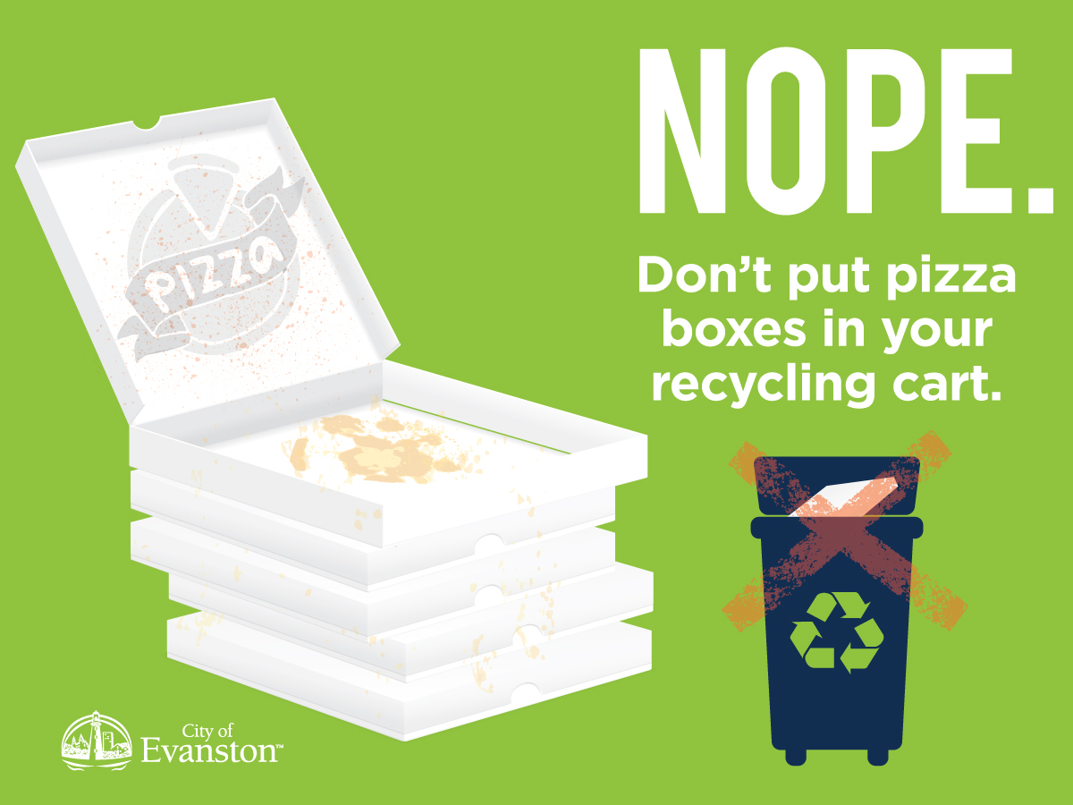 Don't put pizza boxes in your recycling cart.