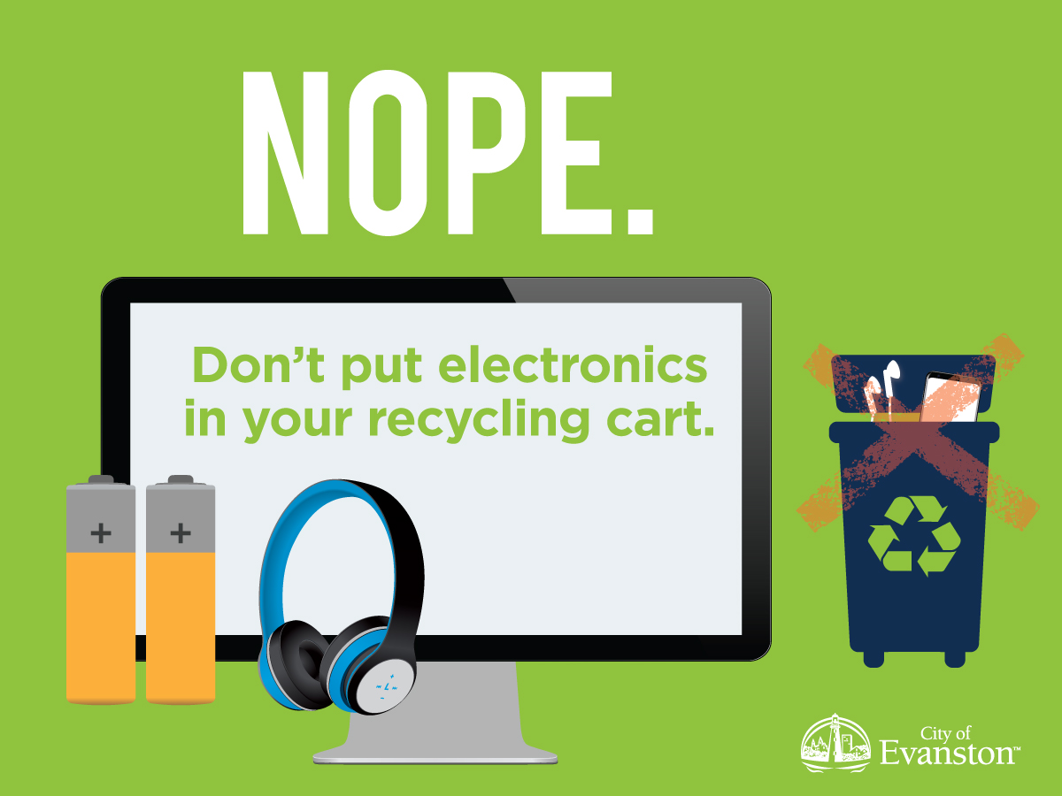 Don't put electronics in your recycling cart.
