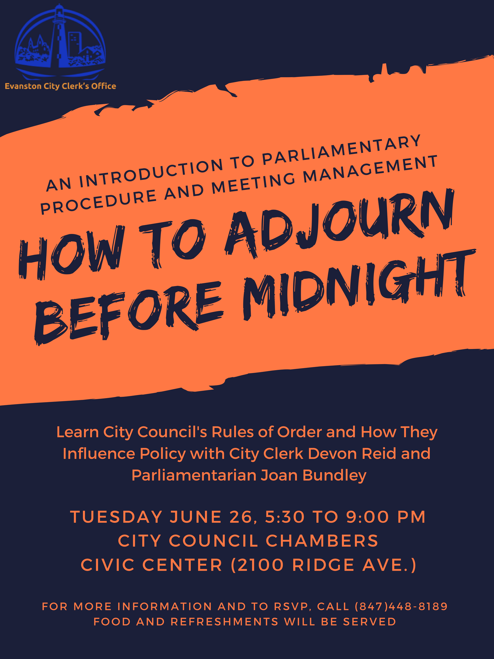 how to adjourn before midnight events city of evanston