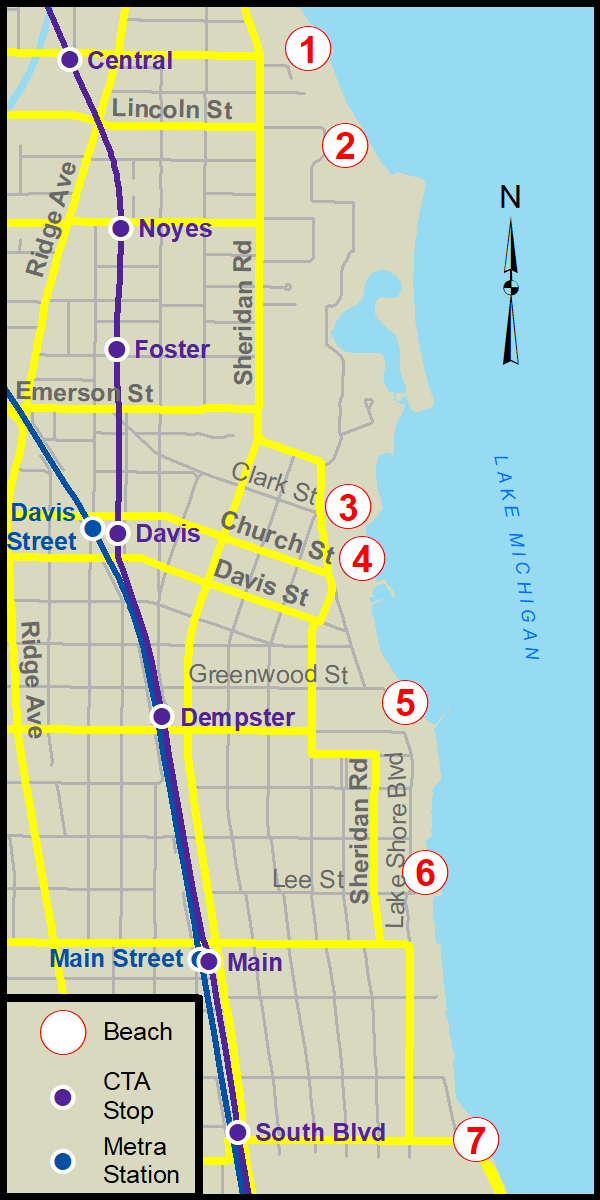 Northwestern University Evanston Campus Map.Lakefront Beaches City Of Evanston